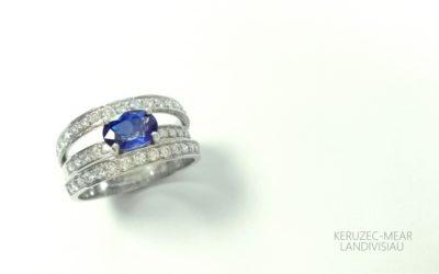 Bague 302, saphir et diamants